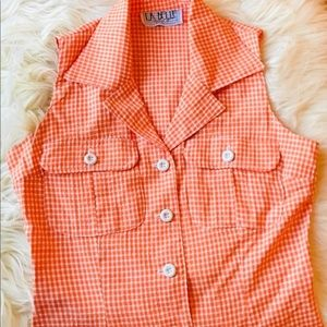 🍊Vintage 90's Peachy Orange Gingham Striped Mini
